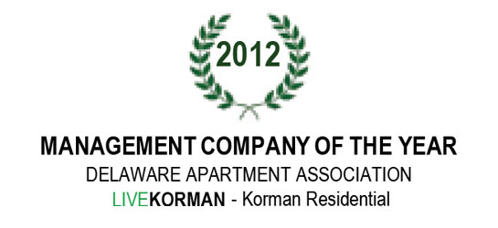 Delaware Apartment Association Management Company of the Year Award 2012