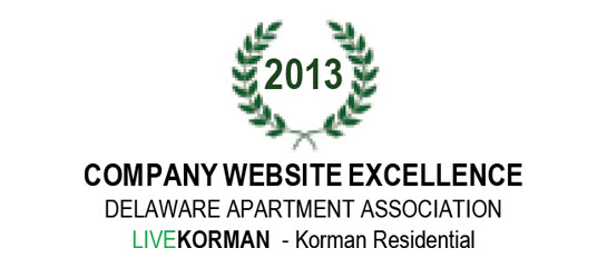 Delaware Apartment Association Company Website Excellence Award 2013