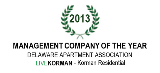 Delaware Apartment Association Management Company of the Year Award 2013