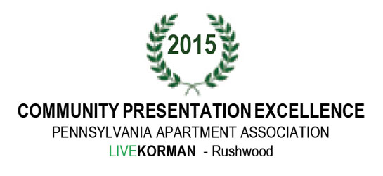 Pennsylvania Apartment Association Community Presentation Excellence Award 2015