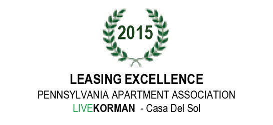Pennsylvania Apartment Association Leasing Excellence Award 2015