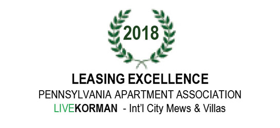 Pennsylvania Apartment Association Leasing Excellence Award 2018