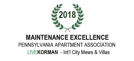 Pennsylvania Apartment Association Maintenance Excellence Award 2018