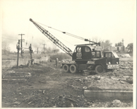 Vintage photo of a construction crane