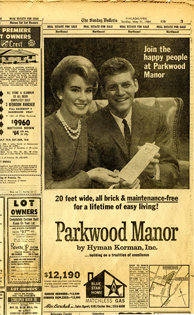 Old newspaper article featuring a story on Parkwood Manor